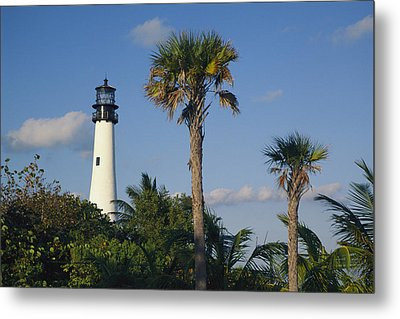 Cape Florida Lighthouse At Bill Baggs Metal Print