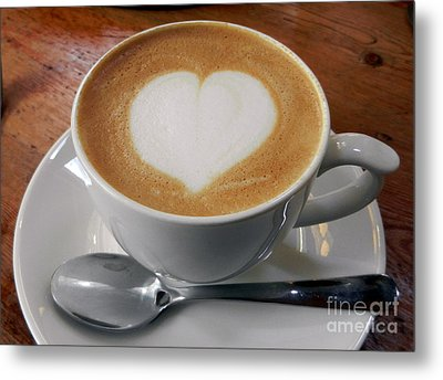 Cappuccino With A Heart Metal Print by Alexandra Jordankova