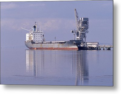 Cargo Tanker Ship Tied Up To A Jetty Metal Print by Jason Edwards