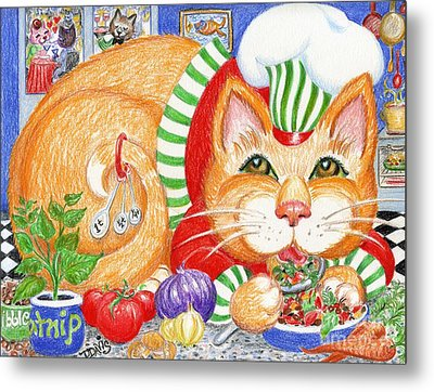 Metal Print featuring the drawing Catzi Cacciatore by Dee Davis