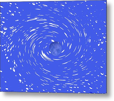 Celestial Swirl In Blue Metal Print by Grace Dillon
