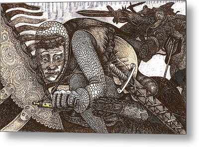 Chased By Brigands Metal Print by Al Goldfarb
