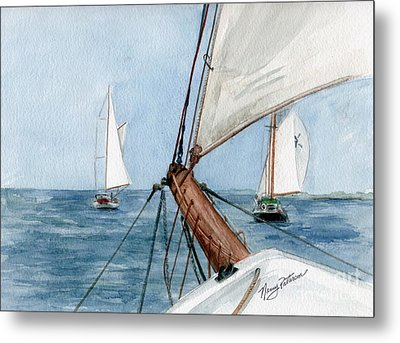 Metal Print featuring the painting Chasing The North Wind by Nancy Patterson