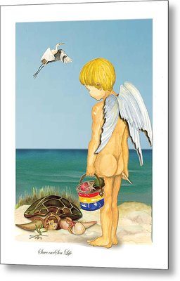 Metal Print featuring the painting Cherub Saving Turtle by Anne Beverley-Stamps