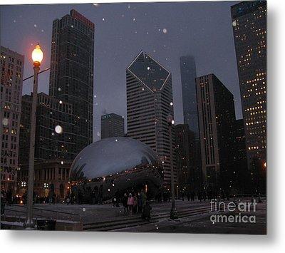 Chicago Cloud Gate At Night Metal Print by Ausra Huntington nee Paulauskaite
