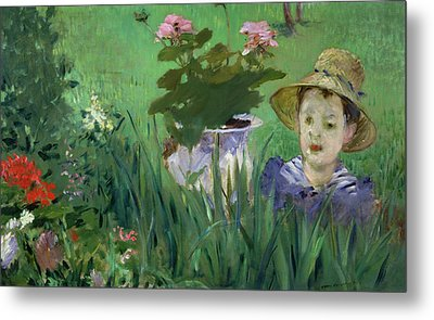 Child In The Flowers Metal Print by Edouard Manet