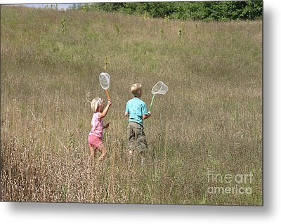 Children Collecting Insects Metal Print by Ted Kinsman