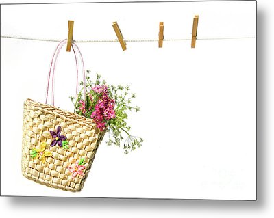 Child's Straw Purse With Flowers Metal Print by Sandra Cunningham