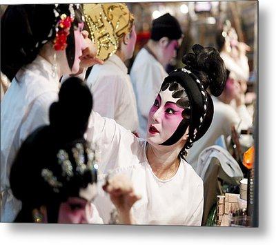 Chinese Opera Performers Prepare Metal Print by Justin Guariglia