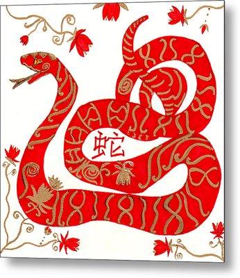 Chinese Zodiac Snake Metal Print
