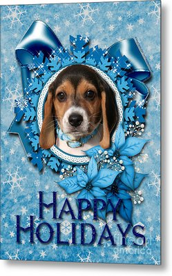 Christmas - Blue Snowflakes Beagle Puppy Metal Print by Renae Laughner