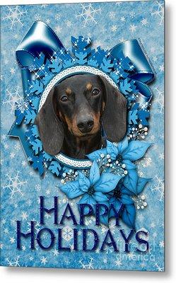 Christmas - Blue Snowflakes Dachshund Metal Print by Renae Laughner