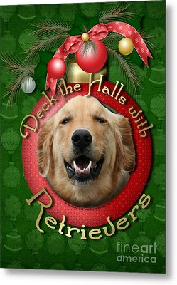 Christmas - Deck The Halls With Retrievers Metal Print by Renae Laughner