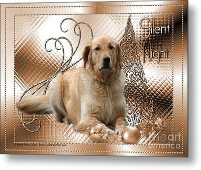 Christmas - Silent Night - Golden Retriever Metal Print by Renae Laughner