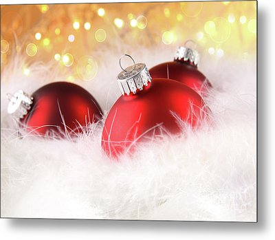 Christmas Balls With Abstract Holiday Background Metal Print by Sandra Cunningham