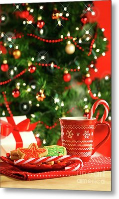 Christmas Cookies  Near The  Tree  Metal Print by Sandra Cunningham