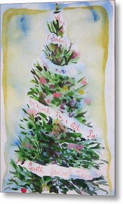 Metal Print featuring the painting Christmas Tree by Tilly Strauss