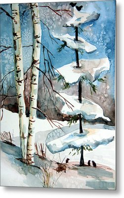 Christmas Twitters Metal Print by Mindy Newman