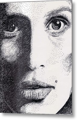 Cindy Crawford Pen And Ink Portrait Metal Print by Rom Galicia