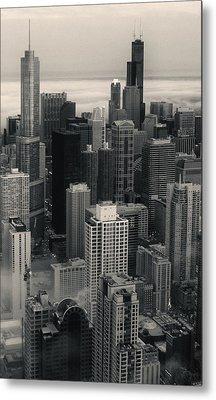 City At Dusk In Monotone Metal Print by Sheryl Thomas