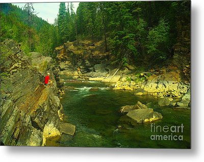 Cliff Over The Yak River Metal Print by Jeff Swan