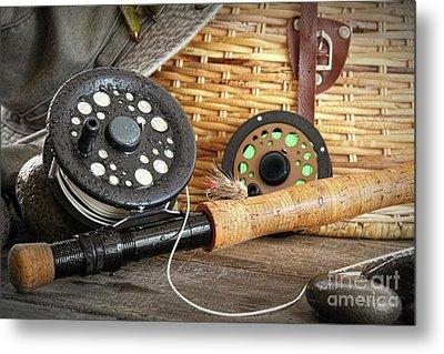 Close-up Fly Fishing Rod  Metal Print by Sandra Cunningham
