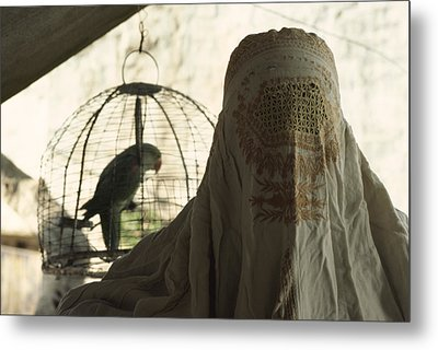 Close-up Of A Woman And A Parakeet - Metal Print by James L. Stanfield