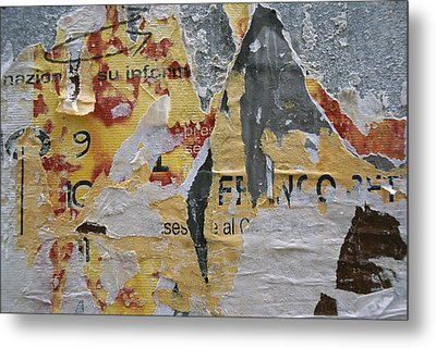Close-up Of Torn Posters On A Wall Metal Print by Todd Gipstein