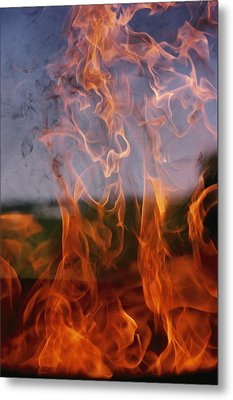 Close View Of Fire Metal Print by Brian Gordon Green