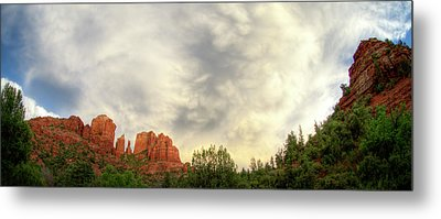 Cloudy Skies Over Cathedral Rock Metal Print by David Sunfellow