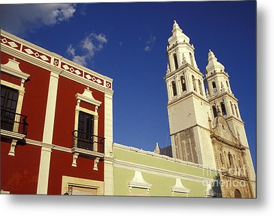 Metal Print featuring the photograph Colonial Colors Campeche Mexico by John  Mitchell