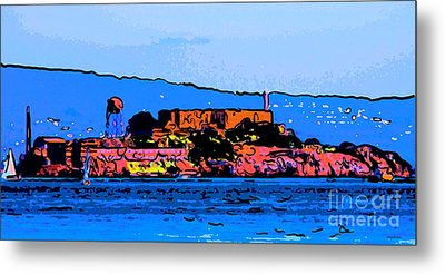 Color Sketch Of Alcatraz In San Francisco Metal Print by Wingsdomain Art and Photography