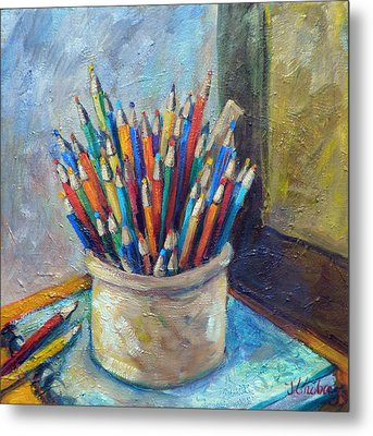 Colored Pencils In Butter Crock Metal Print by Jean Groberg