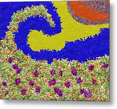 Colorful Textured Wave Metal Print by Rod Seeley
