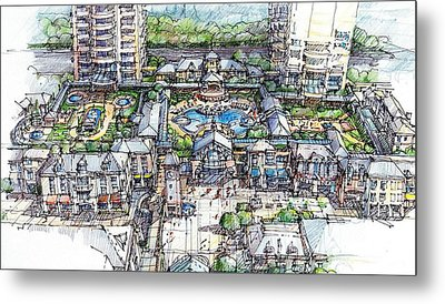 Metal Print featuring the drawing Condominium by Andrew Drozdowicz