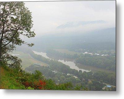 Connecticut River Valley Fog Mount Sugarloaf Metal Print by John Burk