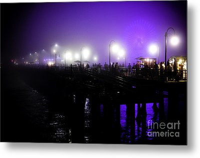 Metal Print featuring the photograph Cool Night At Santa Monica Pier by Clayton Bruster