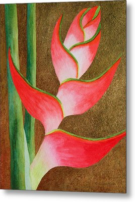 Coral Lobster Claw Heliconia With Gold Leaf Metal Print by Kerri Ligatich