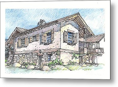 Metal Print featuring the drawing Country Home by Andrew Drozdowicz