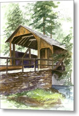 Metal Print featuring the painting Covered Bridge At Knoebels  by Nancy Patterson