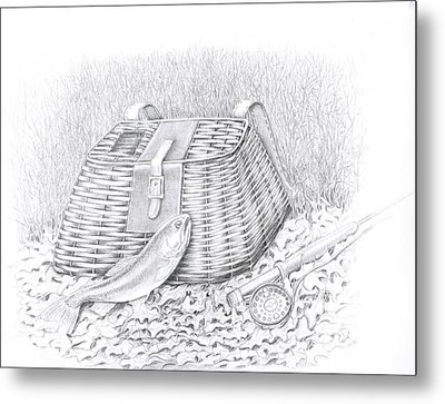 Creel And Fish Metal Print by H C Denney