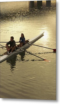 Crew Model Released Rowers Take A Break Metal Print by Phil Schermeister