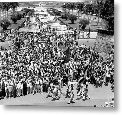 Cuban Political Demonstration Supported Metal Print by Everett