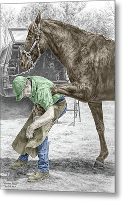 Metal Print featuring the drawing Custom Made - Farrier And Horse Print Color Tinted by Kelli Swan