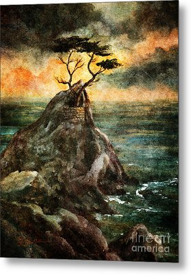 Cypress Tree In Storm Metal Print by Laura Iverson