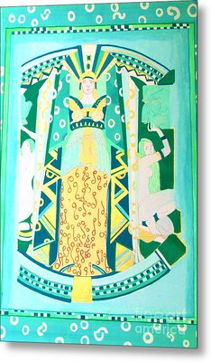 Metal Print featuring the painting Deco Green by Beth Saffer