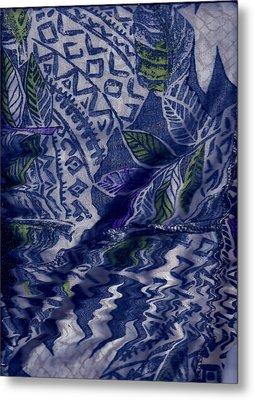 Designs With Blues Metal Print by Anne-Elizabeth Whiteway
