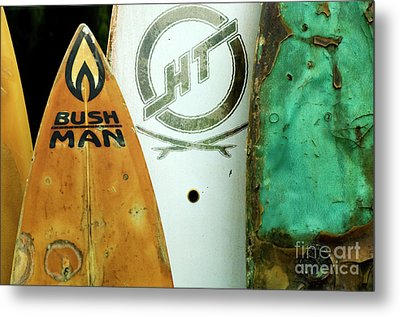 Detail Surfboard Fence Metal Print by Bob Christopher