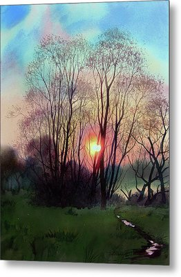 Distant Sunset Metal Print by Sergey Zhiboedov