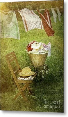 Distressed Photo Of Wash Day  Metal Print by Sandra Cunningham